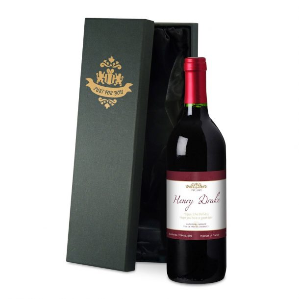 Personalised Frame Red Wine & Silk Lined Gift Box