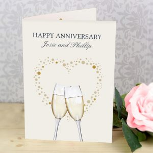 Personalised Gold Champagne Flutes Cards