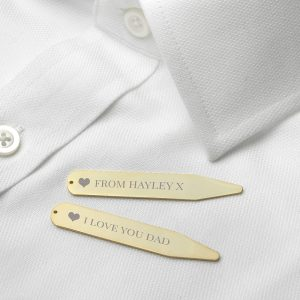 Personalised Gold Plated Secret Message Collar Stiffeners