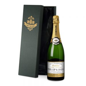 Personalised Golden Anniversary Champagne & Silk Lined Box