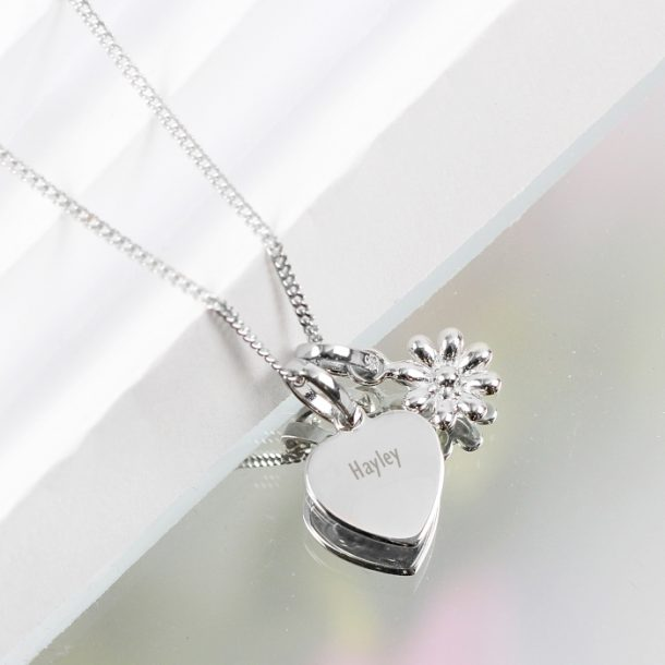 Personalised Heart & Daisy Sterling Silver Necklace