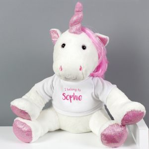 Personalised 'I Belong To' Plush Unicorn Toy