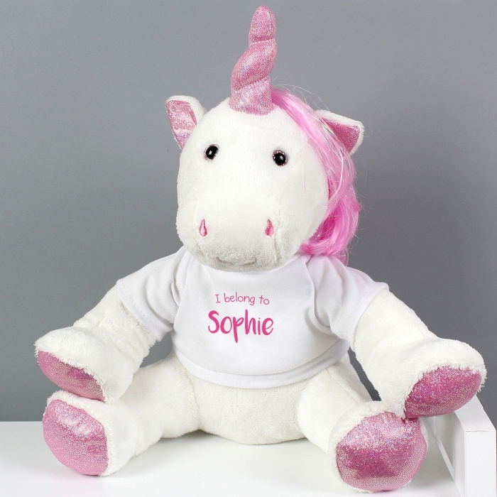 Personalised I Belong To Plush Unicorn Toy Love My Gifts