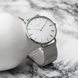 Personalised Ladies Silver Metallic Watch With White Dial