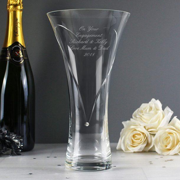 Personalised Large Heart Vase With Swarovski Elements