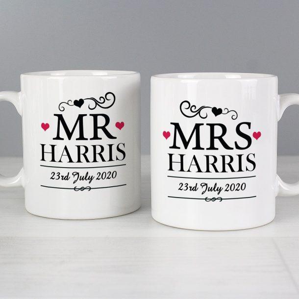 Personalised Mr & Mrs Mug Set