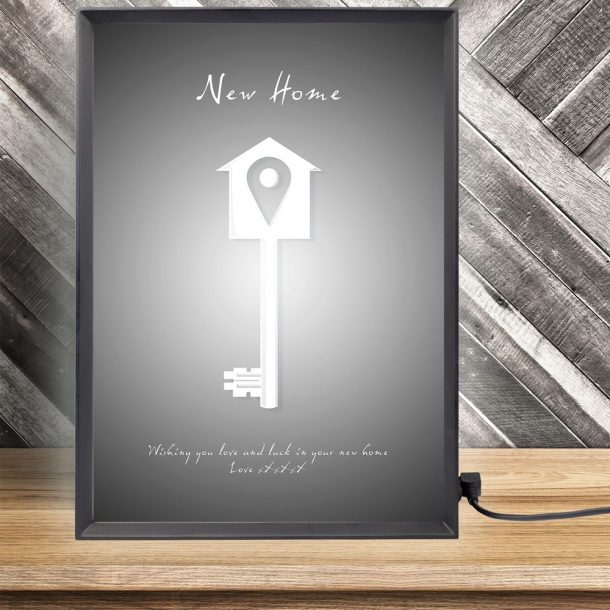 Personalised New Home Key Light Box