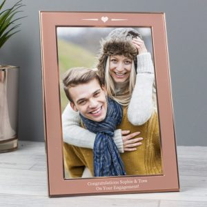 Personalised Rose Gold With Heart 4x6 Photo Frame
