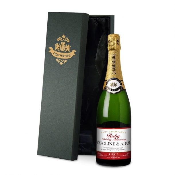 Personalised Ruby Anniversary Champagne & Silk Lined Box