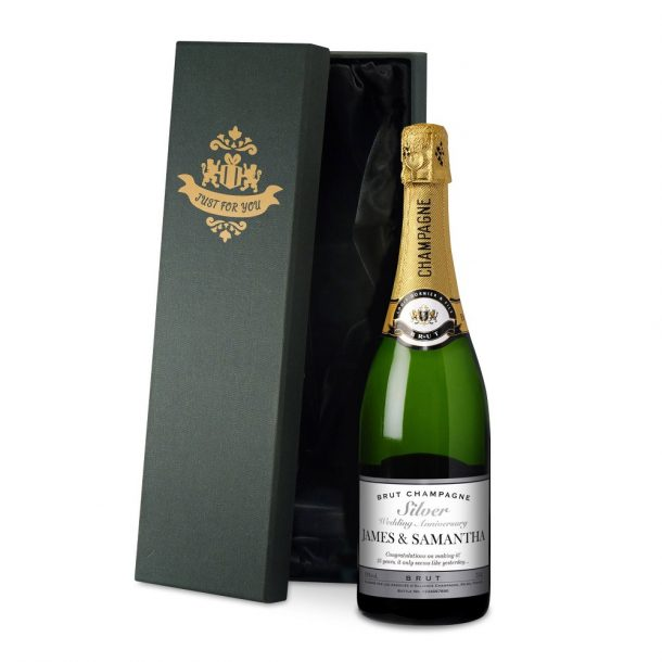 Personalised Silver Anniversary Champagne & Silk Lined Box