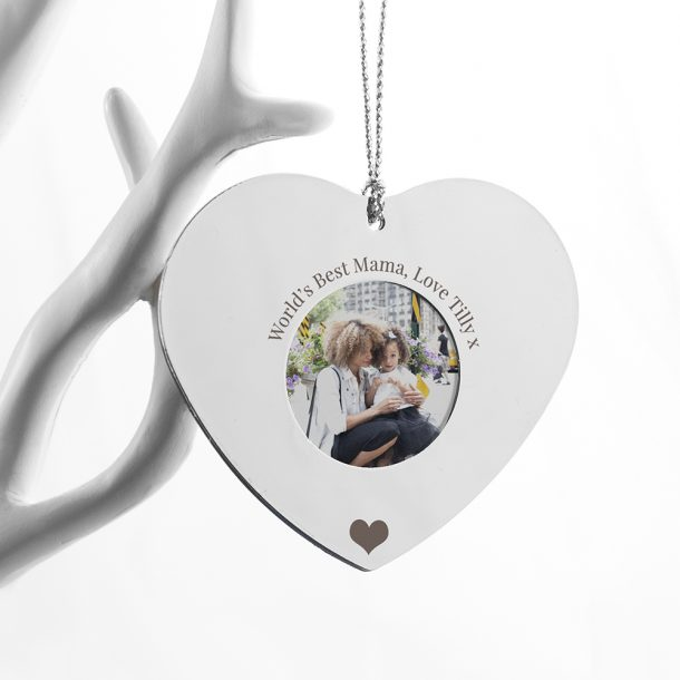 Personalised Silver Hanging Heart Frame