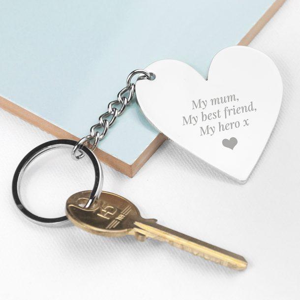 Personalised Silver Heart Keyring