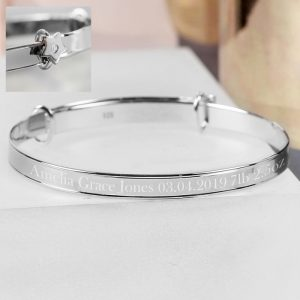 Personalised Sterling Silver Child's Expanding Star Bracelet