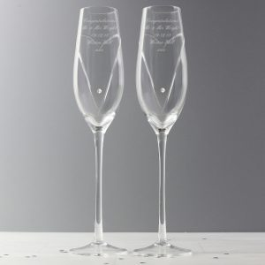 Personalised Swarovski Element Heart Flutes & Gift Box