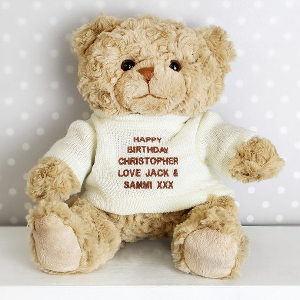 Personalised Teddy Bear & Cream Jumper