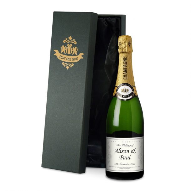 Personalised Wedding Champagne & Silk Lined Gift Box