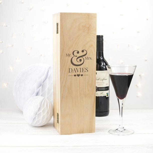Personalised Wedding Single Wine Box