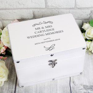 Personalised White Leatherette Keepsake Box