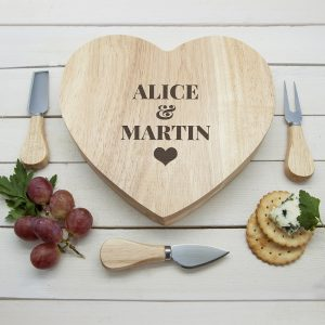 Personalised Wooden Heart Cheese Board Set