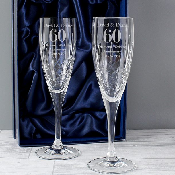 Personalised Anniversary Pair of Crystal Flutes & Gift Box