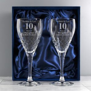 Personalised Anniversary Pair of Crystal Wine Glasses & Gift Box