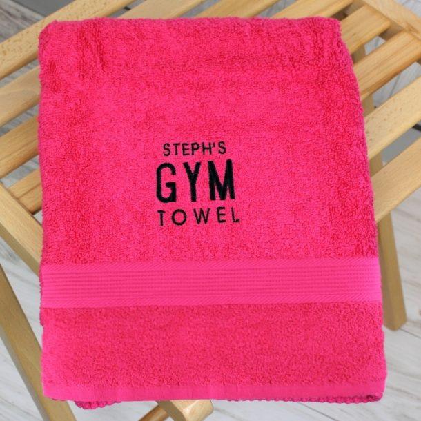 Personalised Bright Pink Gym Towel