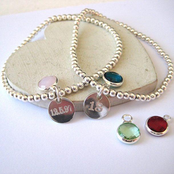 Personalised Clarendon Birthstone Bracelet & Mini Disc
