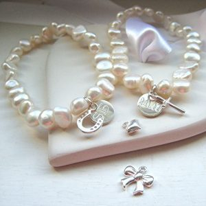 Personalised Clarendon Stacking Pearl Bracelet & Mini Charm