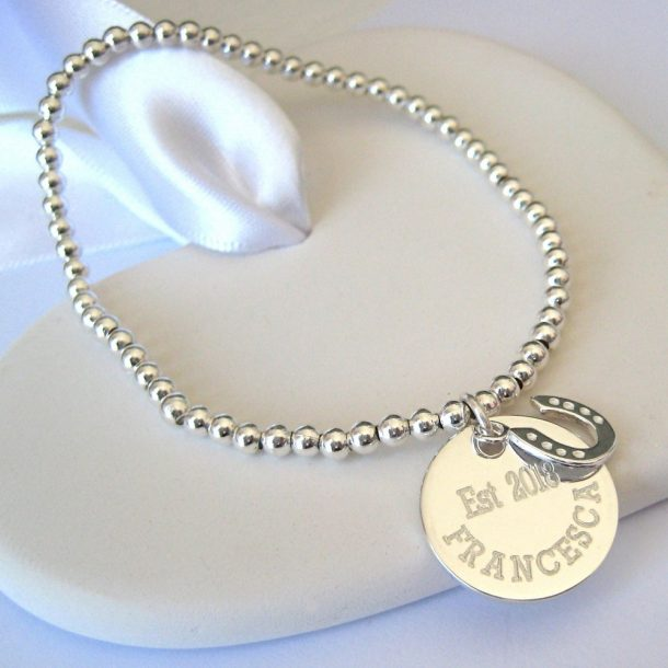 Personalised Duchess Stacking Ball Bracelet & Mini Charm