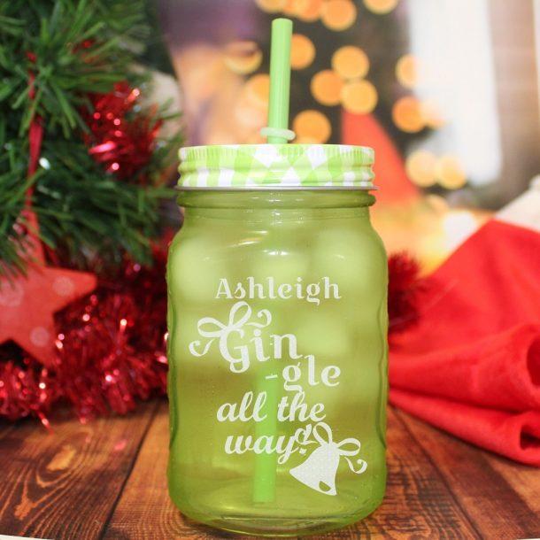 Personalised Gin-gle All The Way Green Mason Jar
