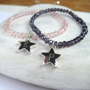 Personalised Girls Crystal Stretch Bracelet & Charm