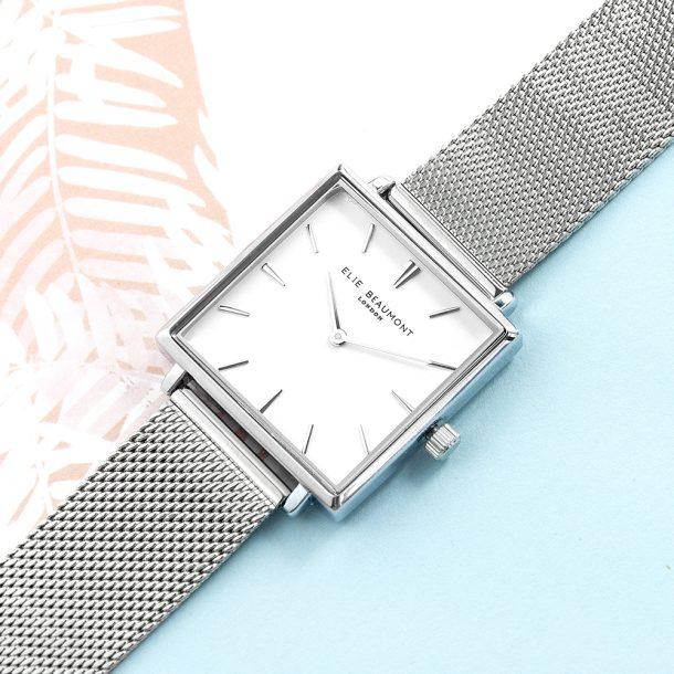 Personalised Ladies Metallic Square Watch