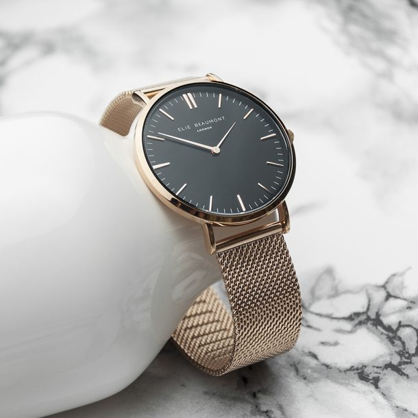Personalised Ladies Rose Gold Mesh Watch With Black Dial