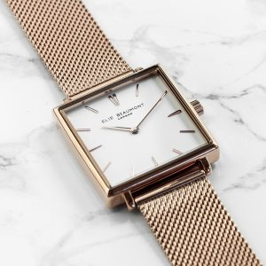Personalised Ladies Rose Gold Metallic Square Watch