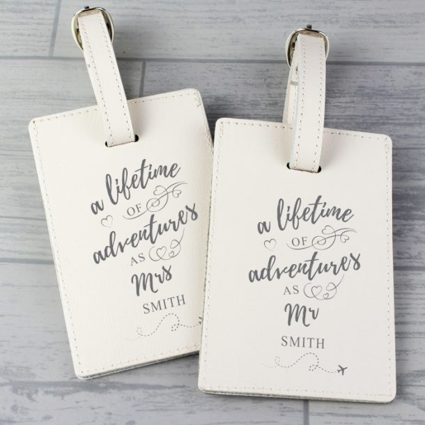 Personalised 'Lifetime of Adventures' Mr & Mrs Luggage Tags