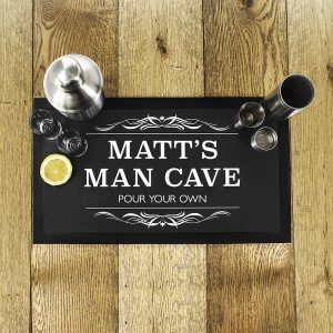 Personalised Man Cave Black Bar Mat