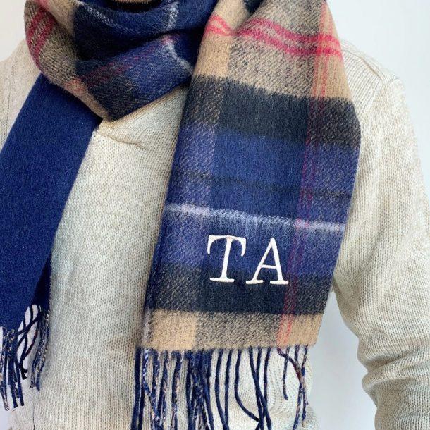 Personalised Men's Lambswool Tartan Scarf