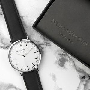 Personalised Men's Modern Vintage Black Leather Watch