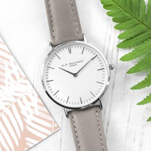 Personalised Modern Ladies Grey Leather Watch