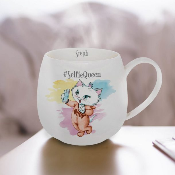 Personalised Nina Kitten Selfie Queen Hug Mug