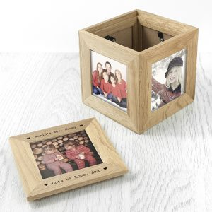 Personalised Oak Picture Cube & Keepsake Box
