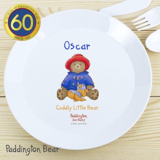 Personalised Paddington Bear Baby Plastic Plate