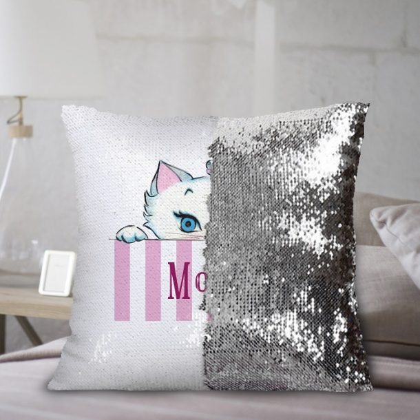 Personalised Peeking Nina Kitten Sequin Cushion