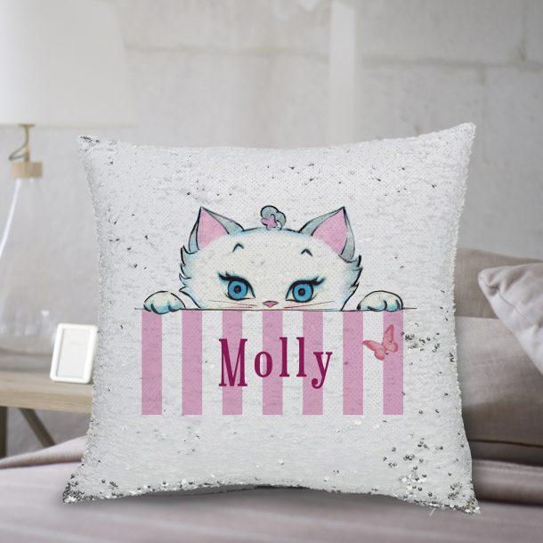 Personalised Peeking Nina Kitten Sequin Cushion