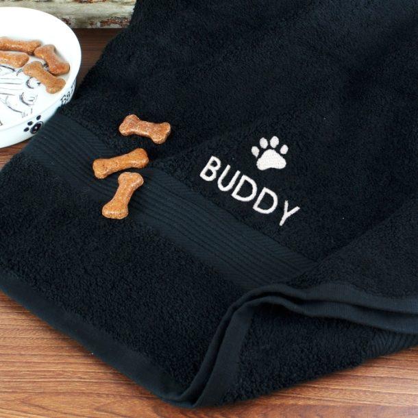 Personalised Pet Paw Black Bath Towel