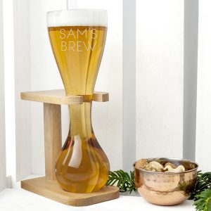 Personalised Quarter Yard Ale Glass & Stand