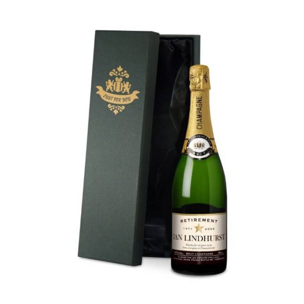 Personalised Star Retirement Champagne & Silk Lined Gift Box