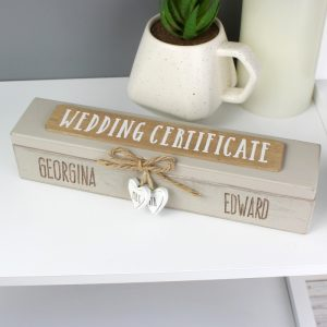 Personalised Wooden Wedding Certificate Holder