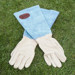 Personalised Blue Leather & Suede Gardening Gloves