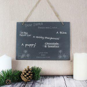 Personalised Christmas Wish List Hanging Large Slate Sign